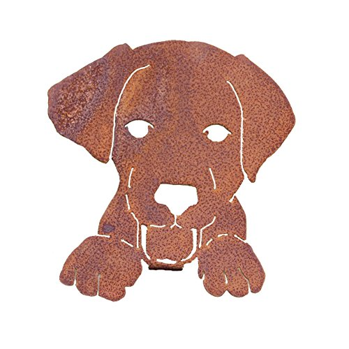 Elegant Garden Design Dog Face, Steel Silhouette with a Rusty Patina (Yard Dog Art)