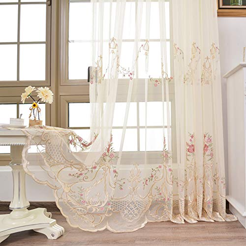 pureaqu Living Room Flora Embroidered Voile Curtain Panels Rod Pocket Semi Sheer Curtain Draperies for Patio Glass Door Window Treatment Drapes Curtain Tulle 1 Panel W52 x H84 Inch (Embroidered Voile)