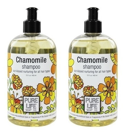 Pure Life Soap Co. Chamomile Shampoo (Pack of 2) With Chamomile, Sesame Oil, Kertain Protein, Panthenol, Agar, Gluconolactone, Calcium Gluconate, Fragrance Blend and Vitamin C, 15 fl. oz. each ()