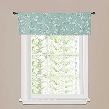H.Versailtex Thermal Insulated Blackout Kitchen,Bath,Laundry,Bedroom,Living Room with Rod Pocket Top Window Curtain Valances - Rustic Aqua Floral Pattern - 51 W x 16 L(Set of 1 pcs)