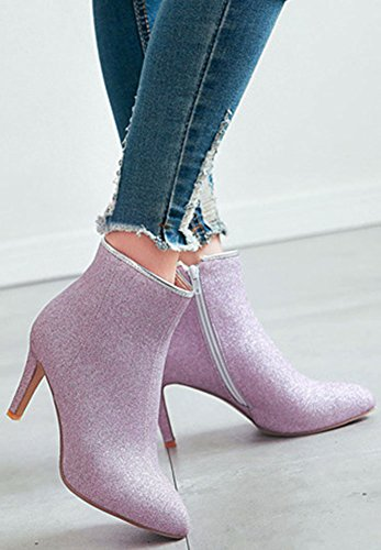 Women's Booties Glitter High Short Zip High Heeled Pointed Toe Up Stiletto Ankle Easemax Purple Fashion OwZdHd