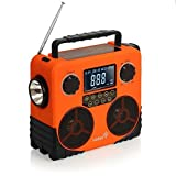 Ivation Water-Resistant Solar- & Dynamo-Powered AM/FM/NOAA Radio, Bluetooth Stereo Speaker & Phone Charger – Rugged Design for Hiking, Camping, Construction Sites, Etc.