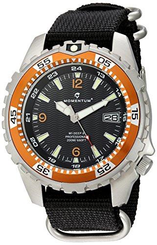 Momentum Men's Quartz Stainless Steel and Nylon Watch, Color:Black (Model: 1M-DV06O7B)