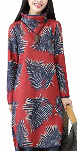 Printed Neck Jaycargogo High Floral Loose Casual Dress Red Midi Long Womens Sleeve O6ZqOUS