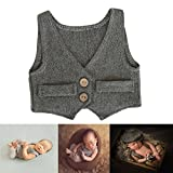 Newborn Photography Outfits Monthly Boy Photo Shoot Props Baby Cute Costume Gentleman Vest (Black+Grey)