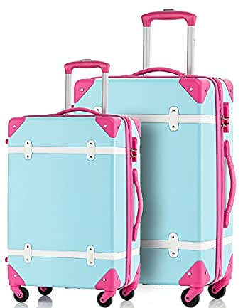 Merax Travelhouse 2 Piece ABS Luggage Set Vintage Suitcase (Blue and Rose)