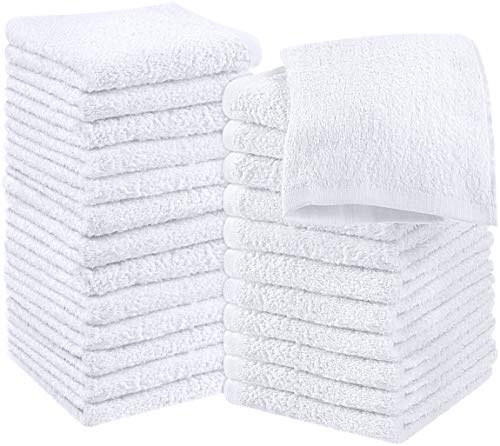 Utopia Towels Cotton Washcloths Set - 100% Ring Spun Cotton, Premium Quality Flannel Face Cloths, Highly Absorbent and Soft Feel Fingertip Towels (Pack of 24)
