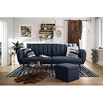 Amazon.com: Modern Plush Tufted Linen Fabric Sleeper Futon ...