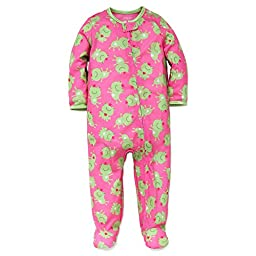 Little Me Baby Girl Frog Soft Zip Footie Pajamas Footed Sleeper Pink 18 Months