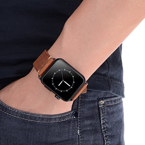 For 42mm Apple Watch Band, Genuine Leather iWatch Strap with Black Metal Clasp Buckle for Apple Watch Series 3 Series 2 Series 1 Sport Edition (42mm Dark Brown) by AMMZO (Image #5)
