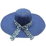 Beach Cap Women Print Two-Side Big Brim Straw Hat Sun Floppy Wide Brim Hats Navy