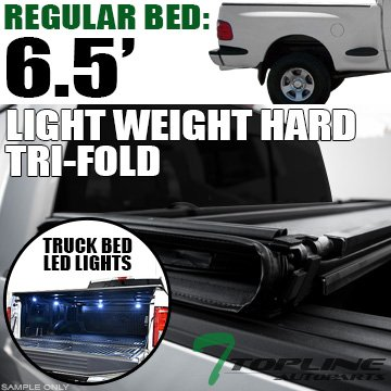Topline Autopart Lightweight Hard Tri Fold Vinyl Tonneau Cover & Truck Bed LED Lighting System 97-03 Ford F150 ; 97-99 F250 Regular (Standard)/Super (Extended) Cab Flareside 6.5 Feet (78