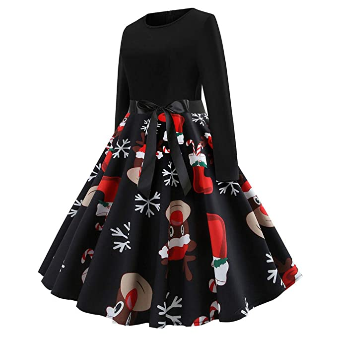4b13defa47b8 TITAP Women s Vintage Print Long Sleeve Christmas Evening Party Swing  Dress  Amazon.in  Clothing   Accessories