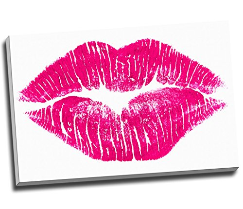 Panther Print Hot Pink Lips Modern Art Canvas Print Wall Art Picture Canvas Prints Large A1 30 X 20 Inches (76.2Cm X 50.8Cm)