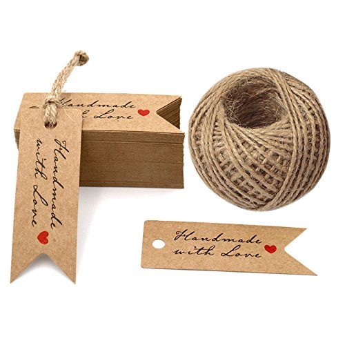 G2Plus Brown Tag,Handmade with Love Tags,100 PCS Kraft Paper Gift Tags with 100 Feet Jute Twine,Paper Hang Tags for Arts and Crafts,Wedding