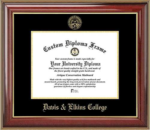 Laminated Visuals Davis & Elkins College Senators - Embossed Seal - Mahogany Gold Trim - Diploma Frame