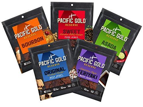 Pacific Gold Reserve Jerky Variety Pack (Sweet Korean BBQ, Japanese Style Teriyaki, Bourbon Glazed, Original Smoked Recipe, Carne Asada), 2.5 Ounce (Pack of ()