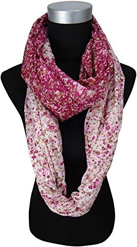 dames Loop en pink rosé brun gris-blanc avec fleursmotif - taille 170 x 70 cm