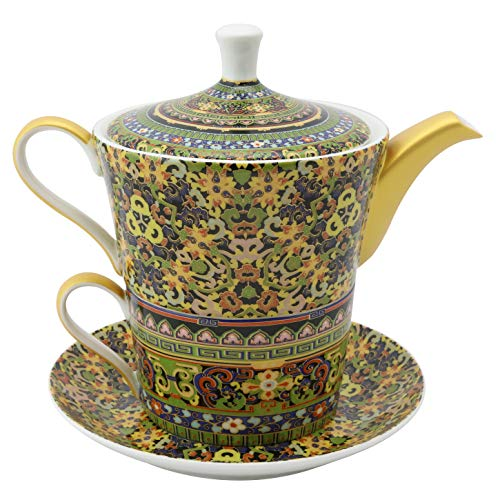 Grace Teaware Bone China 4-Piece Tea For One (Golden Moroccan)