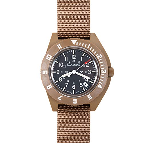 - Marathon Watch WW194013DT-NGM Navigator Swiss Made Military Issue Pilot's Watch. ETA F06 Movement, Date and Tritium, (41mm, Desert Tan, No Government Markings)