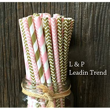 Gold and Pink Stripe and Chevron Paper Straws 7.75 Inches 100 Pack Gold, Pink, White