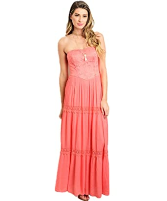 d66420c09f17 Soleblu Coral Lace Crochet Strapless Maxi Dress (S) at Amazon ...