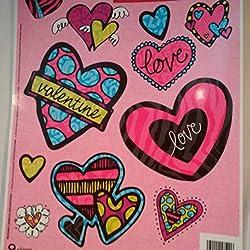 Valentine HEARTS Window Clings, Valentine Window Clings, Happy Valentine's Day Window Clings, Contemporary Valentine Window Clings,