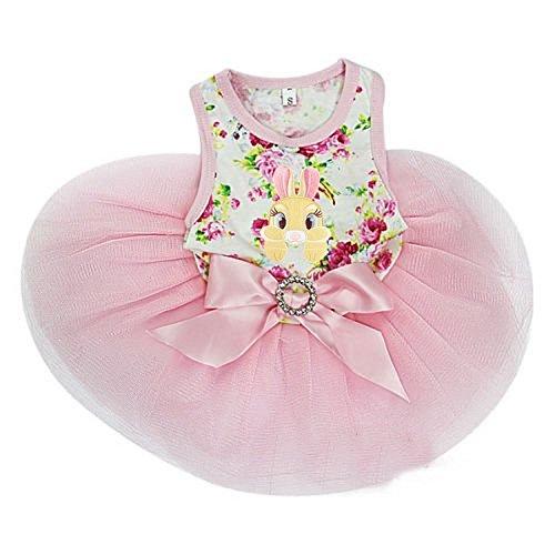 Kirei Sui Bunny Rose PETS Tutu Dress Medium Pink - Dog Easter Dress