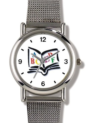 Price comparison product image ABC's Book of Alphabet - WATCHBUDDY ELITE Chrome-Plated Metal Alloy Watch with Metal Mesh Strap-Size-Small ( Children's Size - Boy's Size & Girl's Size )