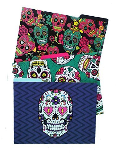 Set of 3 Day of the Dead Decorative Sugar Skull Design Tabbed Folders