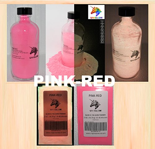 Pink-Red Glow in the Dark Pigment Powder (NOT-ENCAPSULATED) (0.5 Oz / 14.18 Grams) LONGEST LASTING GLOW IN THE DARK POWDER. RECOMMENDED FOR ALL COLORLESS MEDIUM. INK. PAINT. PLASTIC RESIN. GLASS.etc