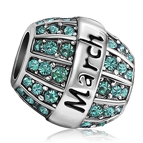 JMQJewelry Birthday Charms Bead For Bracelets (Aquamarine, March Birthstone)