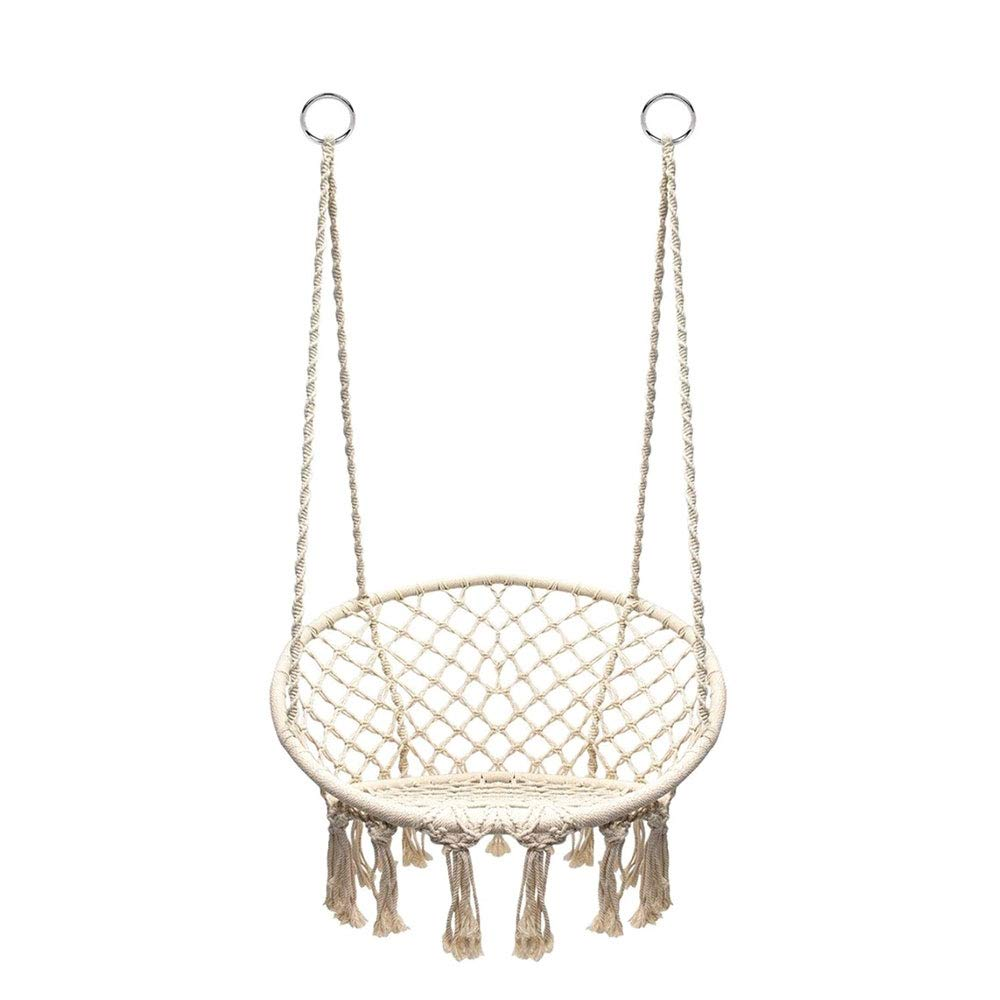 Hanging Cotton Rope Macrame Hammock Chair Macrame Swing 200 Pound Capacity Handmade Knitted Hanging Swing Chair For Indoor Outdoor Home Patio Deck Yard Garden Reading Leisure Lounging Hammock Chairs Patio Lawn Garden