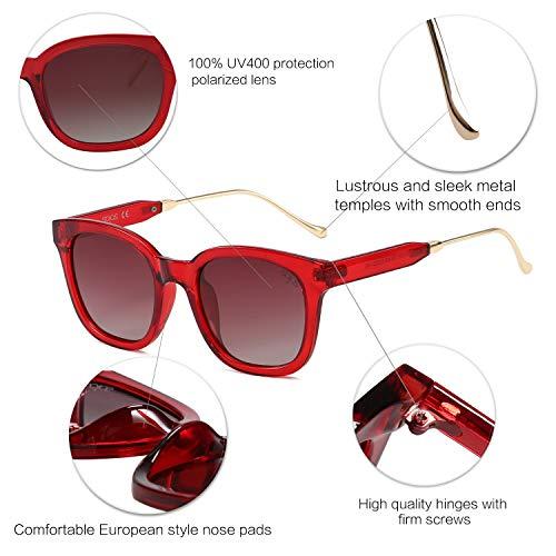 pour Soleil Hommes Wayfarer C8 Lentille Femmes Polarisés SJ2050 Rouge et SOJOS Cadre Lunettes Rouge de Mod Polarisé IqzwxWYCE