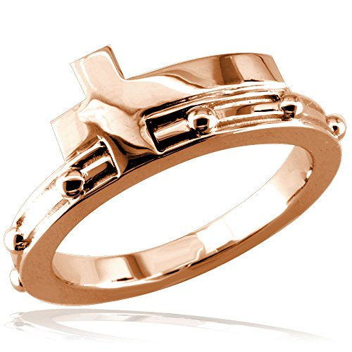 Christian Cross Rosary Ring in 14K Pink, Rose Gold size 6.5