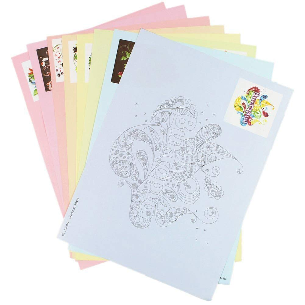 Ozzptuu 8PCS Quilling Paper Tools Set 16 Pattern DIY Release Drawing Locating Paper Craft Decoration Set