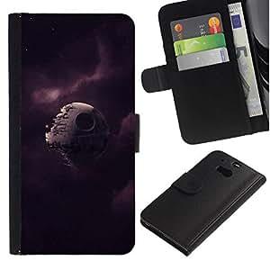 NEECELL GIFT forCITY // Billetera de cuero Caso Cubierta de protección Carcasa / Leather Wallet Case for HTC One M8 // Broken Estrella de la Muerte