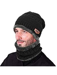 LONGTEN Knitted Hat and Scarf Set, Winter Fleece Lining Wool Beanie Hat Neck Warmers