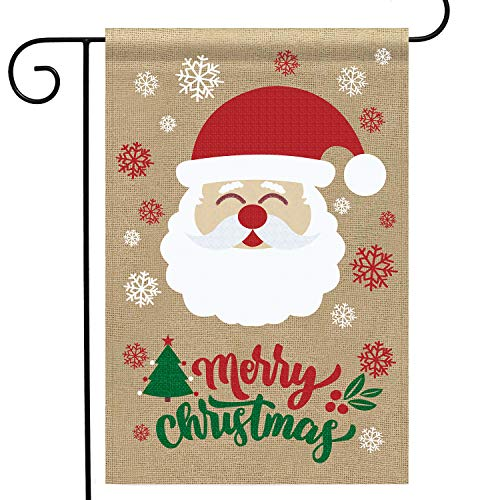 Partyprops Natural Burlap Laughing Santa Garden Flag, Fun Merry Christmas Outdoor Garden Yard Decorations, 12.5 x 18.5 -