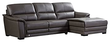 American Eagle Furniture Chandler Collection Contemporary Italian Top Grain  Leather Living Room Sectional Sofa and Chaise on Right With Pillow Top ...