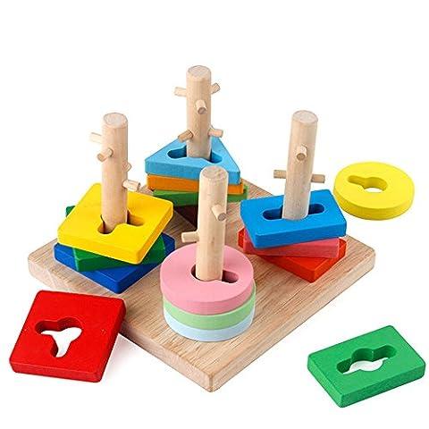 GYBBER&MUMU Wooden toys Geometric Sorting Board Blocks Montessori Toys for Kids (Montessori One Year Old)
