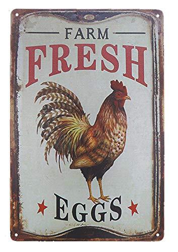 TISOSO Outdoor Chicken Sign Farm Fresh Organic Eggs Metal Wall Decor Retro Vintage Metal Tin Signs Rustic Farmhouse Country Wall Art Sign 8