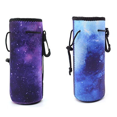 ALLENLIFE Water Bottle Carrier Bag Pouch Cover, Insulated Neoprene Water Bottle Holder - Great for Stainless Steel, Glass, or Plastic Bottles (Purple&Blue) - Neoprene Water Bottle Cover