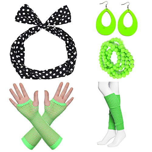 80s Fancy Outfit Costume Accessories Set,Leg Warmers,Fishnet Gloves,Earrings, Headband, Bracelet and Beads (OneSize, N17) by officematters (Image #1)