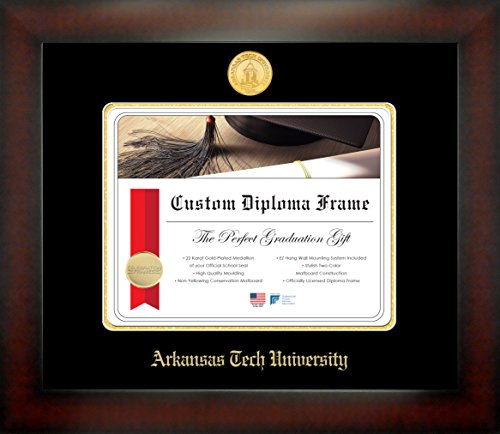 (Celebration Frames Arkansas Tech University 8½ x 11 Mahogany Finish Infinity Diploma Frame by)