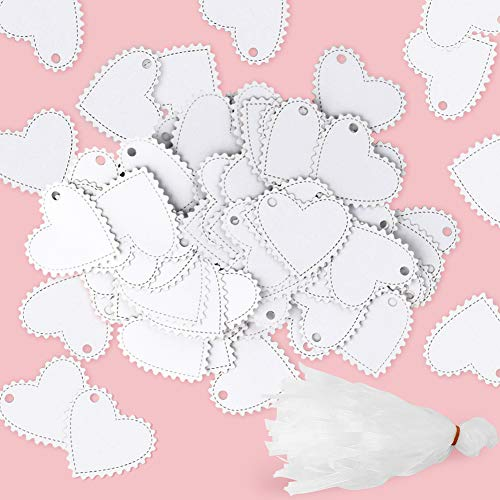 100 PCS Laser Heart Tags Heart Gift Tags with 100 Ribbon for Valentines Day Party Favor Wedding Decoration