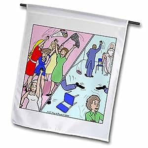 Rich Diesslins Funny General Cartoons - The Diference between Men and Women at Weddings - 12 x 18 inch Garden Flag (fl_3771_1)