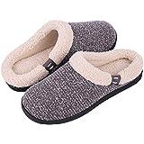 Women's & Men's Comfort Memory Foam Slippers Fuzzy Wool Plush Slip-on Clog House Shoes w/Indoor & Outdoor Sole (40-41 (US Women's 9-10, Men's 7-8), Gray)