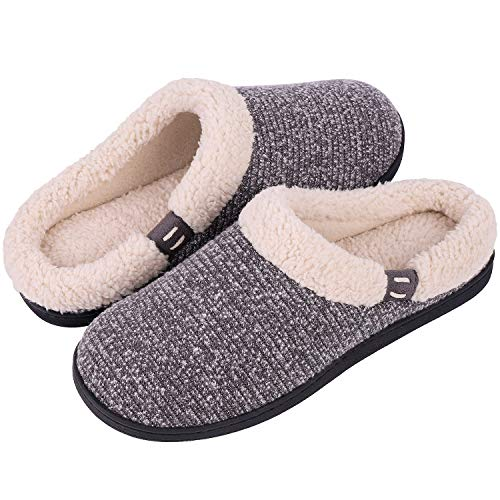 Women's Comfort Wool-Like Memory Foam Slippers Fuzzy Plush Slip-ons Clog House Shoes w/Indoor & Outdoor Sole (40-41 (US Women's 9-10), Gray)