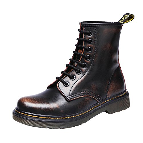 Ladies Heels Combat Ankle Boots Low Retro Toe VOCOSI Cap Leather Brown 608 Women's OgWq04